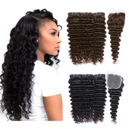 Discount remy hair weft closure - KISS HAIR Natural Color Dark Brown Deep Wave Hair Bundles with Closures 4 pieces set Deep Curly Brazilian Human Hair