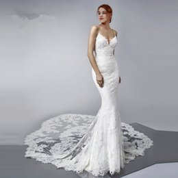 wedding dress sweetheart open Australia - Romantic Mermaid Lace Wedding Dresses 2019 Luxury Sexy Open Back Sweetheart Spaghetti Straps Bridal Gown Two Layers Long Train