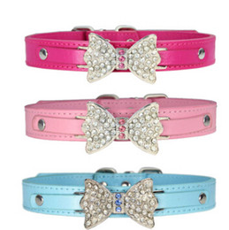 Discount leather dog collars wholesale - Rhinestone Bling Bow Tie Dog Collar Pet Bowknot Necklace Fashion Lovely Diamond Dog Cat Necklace Puppy Kitten Teddy Coll