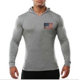 hot stamping logo 2019 - 2019 gym hot Men's Fitness and Leisure Sports Long Sleeves Hoodie Exercise outdoor Elastic stamping logo of America