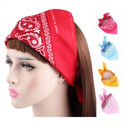 Scarf Square Cotton Australia - Fashion Hip Hop Head Wrap Creative Cotton Square Bandanas Neck Wrist Band Amoeba Print Bows Scarves Hair Accessories LJJT659