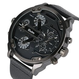Genuine Military Wrist Watches Australia - OULM Big Dial Quartz Watch Men Military Black Color Genuine Leather Band Casual Man Wrist Watches Luxury Unique Style Male Clock OULM