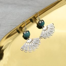daily wear earrings 2019 - Bohemian Style Earrings Retro Fan-shaped Tassel Earrings Pendant Ear Clip Women Jewelry for Female Girls Holiday Daily W