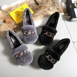 7f57f0e0e Colorful crystal chains furry mules shoes women winter plush rabbit fur  flats creepers new arrivals flat moccasins pregnant shoe