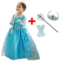 Discount mermaid carnival costumes - Baby Girl Princess Dress for Girls Childen Clothing Fancy Cosplay Elza Costume Carnival Party Children Birthday Dress