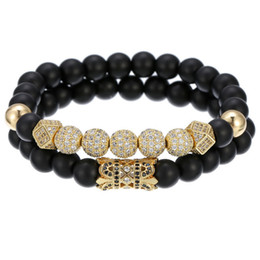 Copper Suits Australia - Natural black abrasive copper bead hand string diamond ball diamond white drill hand ring bracelet suit men's foreign trade source jewelry