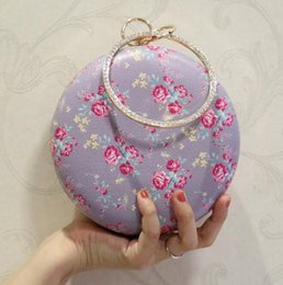 $enCountryForm.capitalKeyWord Australia - Factory sales branded bag elegant flowers Dinner Bag Fashion round diamond wrist women Dinner Bag lovely delicate printed leather handbag