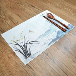 Discount chinese dining New Table Mat PVC Printed Mats Anti-slip Table Protector Placemat Washable Hotel home dining table non-slip insulation p
