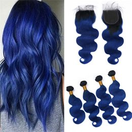 $enCountryForm.capitalKeyWord NZ - Black and Blue Ombre Lace Closure with 4 Bundles Dark Roots Blue Body Wave Wavy Ombre Virgin Peruvian Human Hair Weaves with Closure
