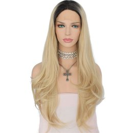 China Free Shipping 26inch Ombre Blonde Lace Front Wigs Dark Roots Two Tone Color Long Wavy Heat Resistant Glueless Synthetic Wigs for Women cheap blonde two tone wigs suppliers