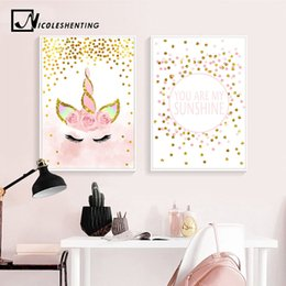 Decorative Bedroom Paintings Australia - Pink Unicorn Poster Nursery Quotes Art Wall Canvas Print Painting Nordic Style Decorative Picture Baby Girl Bedroom Decoration