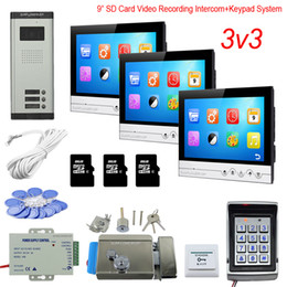 "$enCountryForm.capitalKeyWord Australia - Access Control Keyboard System 3 Apartments Home Phone With Lock 9"" Color 8GB SD Card Recording House Intercom Rfid Cards Kit"