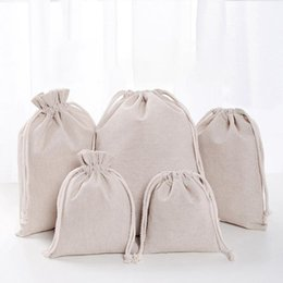 candy door gift UK - Linen Drawstring Pouch Bags Reusable Shopping Bag Party Candy Favor Sack Cotton Gift Packaging Storage Bags DHL WX9-1488