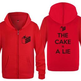 Hoodie Hoodies Skate NZ - Games Keep Calm Because The Cake is a Lie Printed Hoodies Men Fleece Long Sleeve Men's Skate Sweatshirt Zipper Jacket Tracksuit