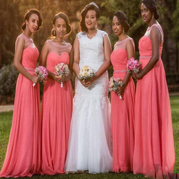 Coral Beads Making Australia - A Line Coral Long Bridesmaid Dresses 2019 Crew Sheer Neck Sleeveless Chiffon Floor Length Pleats Beads Maid Of Honor Wedding Guest Dress