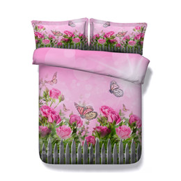 3d full bedding set butterfly NZ - Pink coverlet Flower Colorful Butterfly Duvet Cover Set 3 Piece Comforter Cover With 2 Pillow Shams Bedding Sets bedspreads bed cover