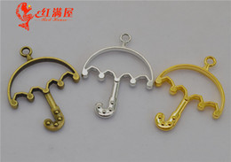 Silver Plated Frames Charms Wholesale Australia - 40pcs 32*42MM DIY jewelry antique bronze hollowed umbrella charms gold glue metal frame blank pendants hollow jewellery matertial ornament