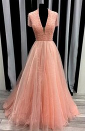 Wholesale v neck formal tops plus size online – Elegant Coral A line Deep V neck Prom Bridesmaid Dresses crystal Beaded Sequins Top Organza Long party Pageant Evening Dress Formal gown