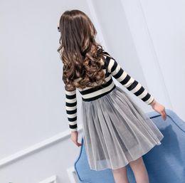 Girls white Gauze dress online shopping - Autumn cuhk child white gauze stripe long sleeve dress is han edition girls bow nail bead princess fan skirt