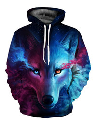 Wholesale Women Fashionable Tops Australia - 3D Wolf Printed Hoodie Men Women Cool Casual Sweatshirt Spring Autumn Fashionable Pullover Hooded Tops Baseball Costume Jersey