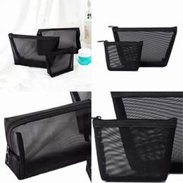 $enCountryForm.capitalKeyWord Australia - Travel Storage Bags Black Transparent Grid Cosmetic Bag Household Storages Sack Three Pieces Sets Hot Selling 10 2zp L1