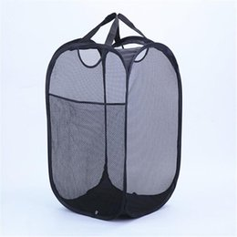 basket handles wholesale NZ - Strong Mesh Pop-up Laundry Hamper Quality Laundry Basket with Durable Handles Solid Bottom High Carbon Steel Frame Fold Flat for Storage