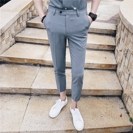 $enCountryForm.capitalKeyWord Australia - 2019 British Style Man Dress Pants Slim Fit Stripe Trousers Men White Formal Pantalon Lana Stripe Men Business Pants Elegante