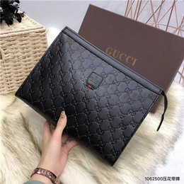 Ostrich Leather Clutch Bag Australia - With Box Designer Mens Bag Clutch Bags Business Litchi Grain Italian Leather Mens Handbag