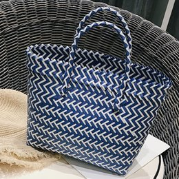 $enCountryForm.capitalKeyWord Australia - Women's Straw Woven Bag Solid Color Handbag Wild Casual Weave Beach Bags Shopping Basket Striped Hand Knitted Handbag Totes