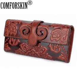 hasp wallet purse UK - Comforskin Premium Genuine Oil Waxing Leather Unique Embossed Floral Woman Purse Famous Brand Long Cover Style Women's Wallets Y190701