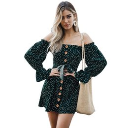 c21e80c2f62391 Women Off the Shoulder Polka Dot Dress Long Sleeves High Waist Sexy Autumn Fashion  Dress Hollow Out Tie Front Casual Mini Dress