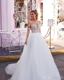 $enCountryForm.capitalKeyWord Australia - A Line White Tulle Sheer Long Sleeve Beach Wedding Dresses China 2019 New Cheap Plus Size Wedding Guest Bridal Gowns Nigeria