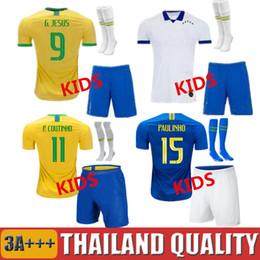 Discount pele jerseys - 2019 Copa America Brasil kids Soccer Jersey FIRMINO G.JESUS P.COUTINHO MARCELO 19 20 kit FRED PELE Brasil Football shirt