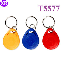 card copy NZ - 100pcs T5577 Blue Keyfob RFID ID Smart Keychain Copy and Erase Read+Write 125KHZ Access Control Key Tag For Security Protection Management