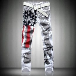 $enCountryForm.capitalKeyWord Australia - Men's White American Flag Printed Jeans High-elastic Slim Casual Five-pointed Star Red Strips Plus Size Trousers 41 42