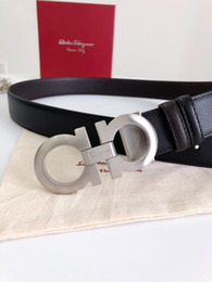 Male Full Belt Australia - Leather belt to send a full set of gift box packaging male male smooth button 3.5 cm imported leather hardware full size point