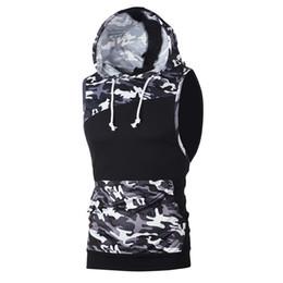 3c4e16a2ae488 Men tank top Summer Camouflage Patchwork Sleeveless Sporty Hooded Vest  bodybuilding stringer fitness men camiseta tirantes 2019