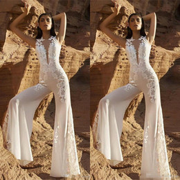 $enCountryForm.capitalKeyWord NZ - Hot Sale Bohemian Jumpsuit Wedding Dresses 2019 New Jewel Neck Lace Appliqued Bridal Dress Spring Summer Boho Beach Wedding Gowns