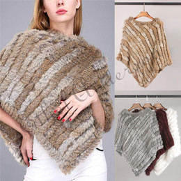 Wholesale knitted rabbit poncho resale online - ETHEL ANDERSON Newly Design Knitted Genuine Rabbit Fur Poncho Vogue Vest Wrap Coat Shawl Elegant Top Wedding Casual Best Price CJ191206