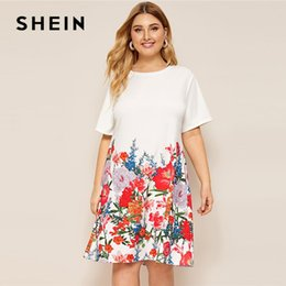 43c338703e5 SHEIN Plus Size White Floral Print Tee Dress 2019 Women Summer Causal Shift  Round Neck Short Sleeve Straight Officewear Dresses