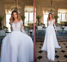 beach wedding dresses sheer Australia - A Line Wedding Dresses Summer Beach Sheer Neck Long Illusion Sleeves High Side Split Lace Appliques Chiffon Bridal Gowns Boho