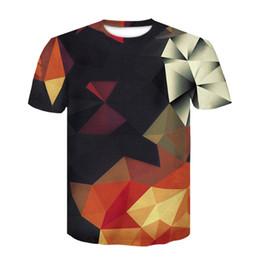 Gold Block Letters Australia - 2019 New 3d T Shirt Men Summer Tees Print Color Blocks 3d T-shirt Fashion Brand Clothing Unisex Casual Tops Dropship