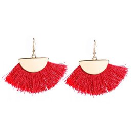 Chinese  Vintage Long Tassel Drop Earring Resin Punk Ethnic Fashion Multicolor Cotton Thread Big Red Fan Shape Fringe Earrings For Wome Wholesale manufacturers