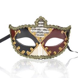 Vintage cat mask online shopping - Venice Lace Edge Masquerade Masks for Men And Men Vintage Venetian Mardi Gras Halloween Christmas Party Masks FGHG
