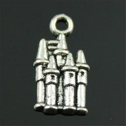 $enCountryForm.capitalKeyWord Australia - 100pcs Charm Castle Vintage House Pendant Charms For Jewelry Making Antique Silver Retro Castle Charms 10x19mm