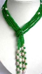 """Indian Scarfs Australia - necklace 6mm Green jade + White Pearl scarf form necklace 50"""""""