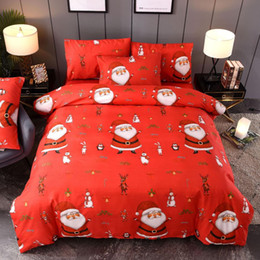 bedding set merry christmas Australia - Merry Christmas Bedding Set luxury Duvet Red bed linens Cover set Santa Claus Comforter Bed Gifts for kids Queen King Size