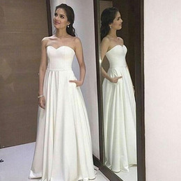sweetheart wedding dresses pockets NZ - 2019 Simple Elegant Wedding Dresses A-line Sweetheart Sleeveless Satin Bridal Gowns with Fashion Pockets Cheap High Quality