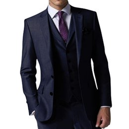 Suits Two Slits NZ - High Quality Side Slit Two Buttons Navy Blue Wedding Groom Tuxedos Notch Lapel Groomsmen Men Formal Prom Suits (Jacket+Pants+Vest+Tie) W187