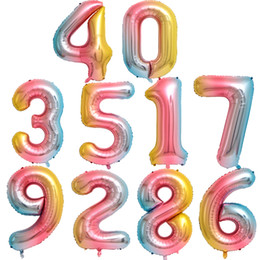 aluminium balloon stick Australia - New Rainbow Color Number Foil Balloons 40 inch Birthday Wedding Party Decoration Digital Balloon Number Air Ballon Globos with HIgh Quality